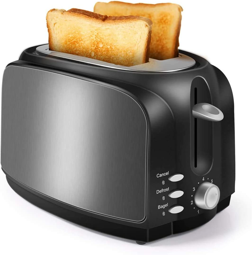 LoweXII Toaster, Wide Slot with Bagel/Defrost/Cancel Function Stainless Steel 7 Bread Shade Settings 2 Slice Black Toaster for Bread with Removable Crumb Tray, Toaster Oven, 2 Slice Toaster