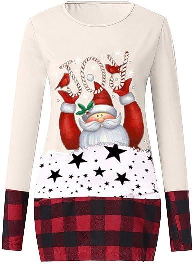 Hurrybuy Womens Tops Loose Womens Christmas Tops Plaid Splice Hem Reindeer Long Sleeve Cute Tunic Blouse