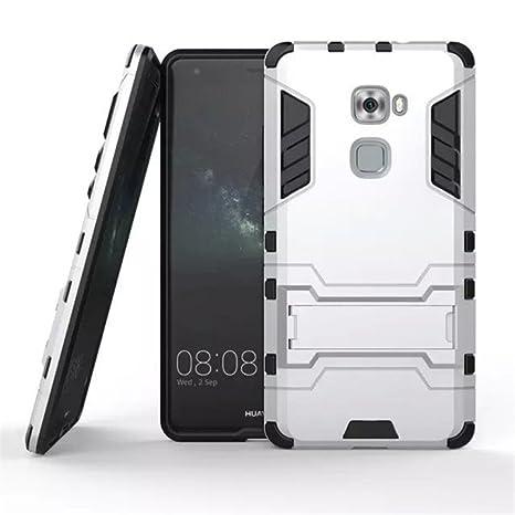Apanphy Huawei Mate S Carcasa, Híbrida de Silicona + Polycarbonato Doble Resistencia, y soporte para mesa - Gris