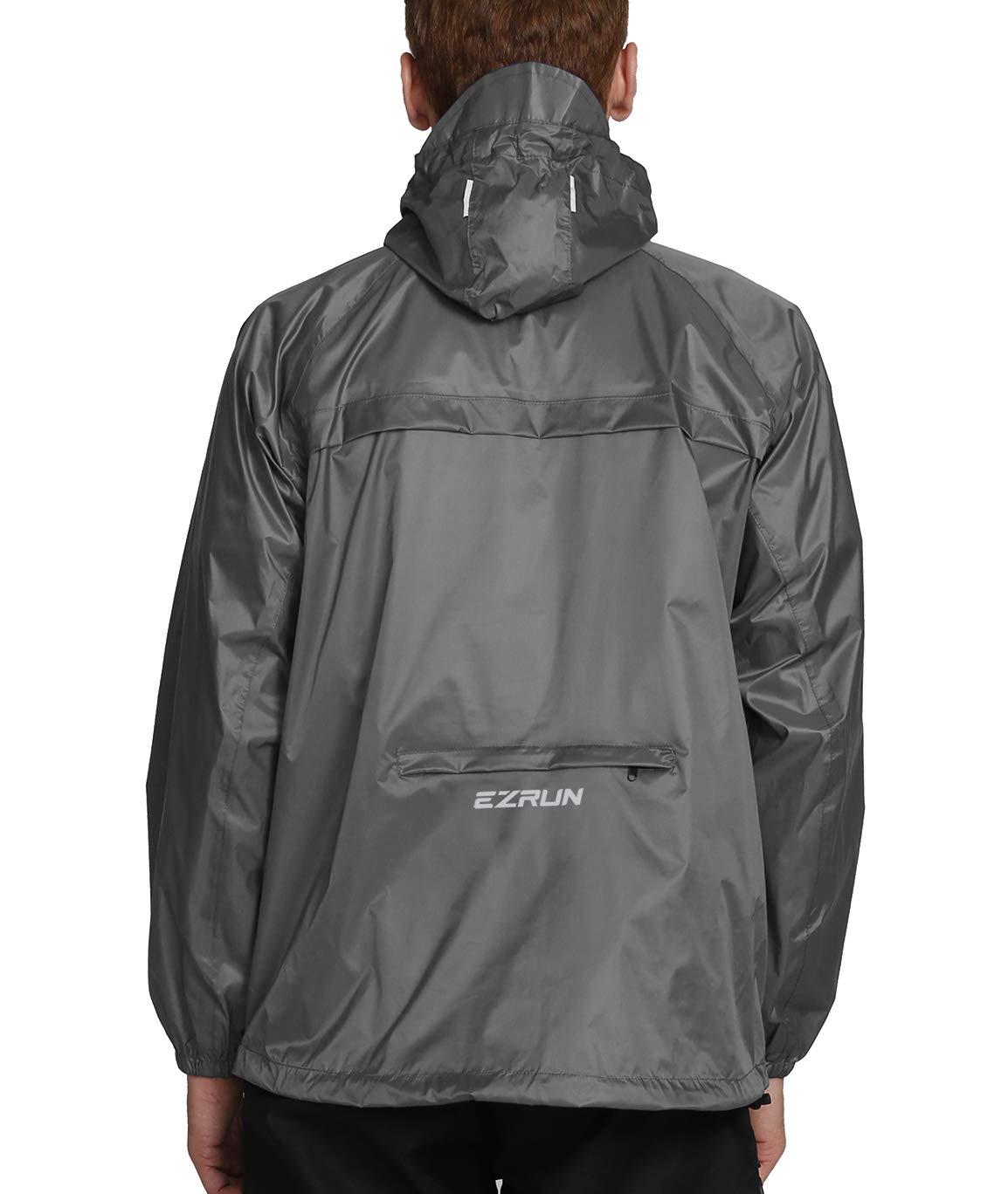 EZRUN Men's Waterproof Hooded Rain Jacket Windbreaker Lightweight Packable Raincoat(Silver Grey,L)