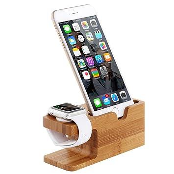 MEMTEQ® Soporte Cargador de Bambú Madera para Apple Watch iWatch iPhone 6s / 6s Plus / 5s / 5c