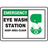 "Accuform Signs MFSD928VP Plastic Safety Sign, Legend EMERGENCY EYE WASH STATION KEEP AREA CLEAR with Graphic, 7"" Length x 10"" Width x 0.055"" Thickness, Green/Black on White"