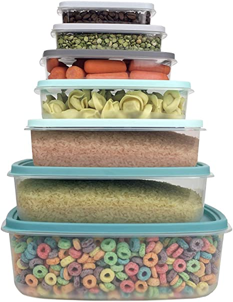 Amazon Com Home Basics 14 Piece Food Storage Container Set With Secure Fit Plastic Lids For Leftovers Meal Prep Five Sizes For Multipurpose Use Multicolor Kitchen Dining