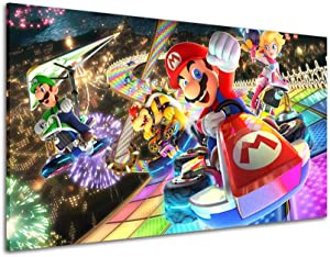 RINWUNS Wall Art Mario Kart Racing Canvas Print Game Poster Wall Painting Artwork Picture Stretched and Framed Modern Home Decor for Living Room Bedroom Gift for Game Fan Ready to Hang 1 PC 12x18inch