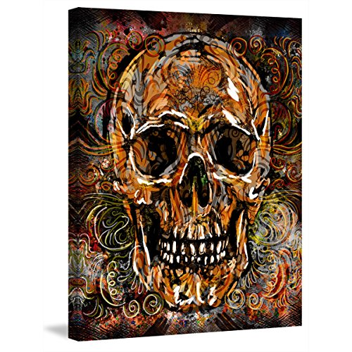 Canvas Print Wall Pictures for Living Room Skull Swirls Painting on Canvas Posters and Prints Modern Home Decor Gallery-wrapped Artwork Framed Stretched Ready to Hang (24''W x 32''H) (Skull Swirl)