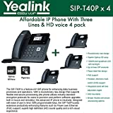Yealink IP Phone SIP-T40P 4-PACK 3 VoIP accounts HD voice PoE & EHS support