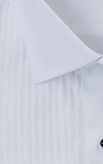 Dobell Mens White Dress Shirt Reg Fit 100/% Cotton Standard Pleated Stud Button