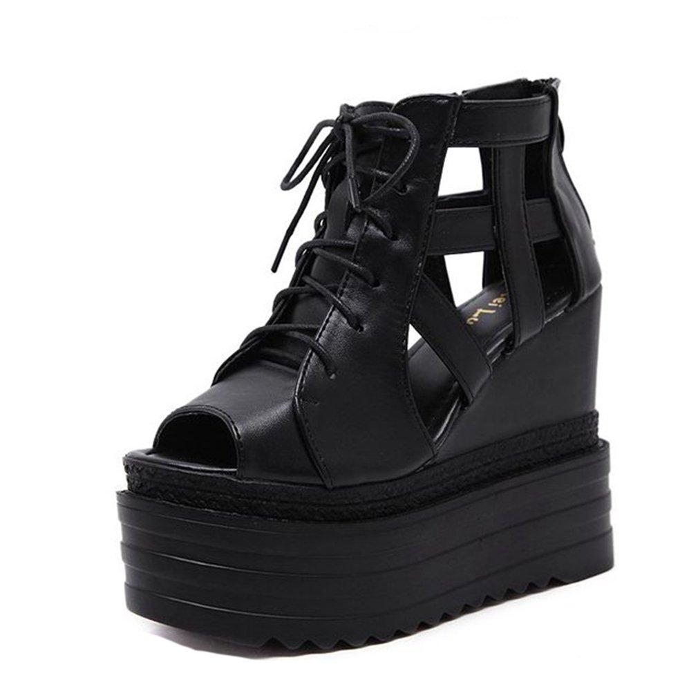 GIY Women's Platform Wedges Sandals Gladiator Peep Toe Chunky Hidden Heel Zipper Lace up Booties Black