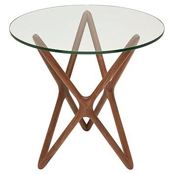 Star Glass Top Side Table In Walnut