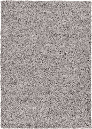 Unique Loom Solo Solid Shag Collection Modern Plush Cloud Gray Rectangle (7 x 10)