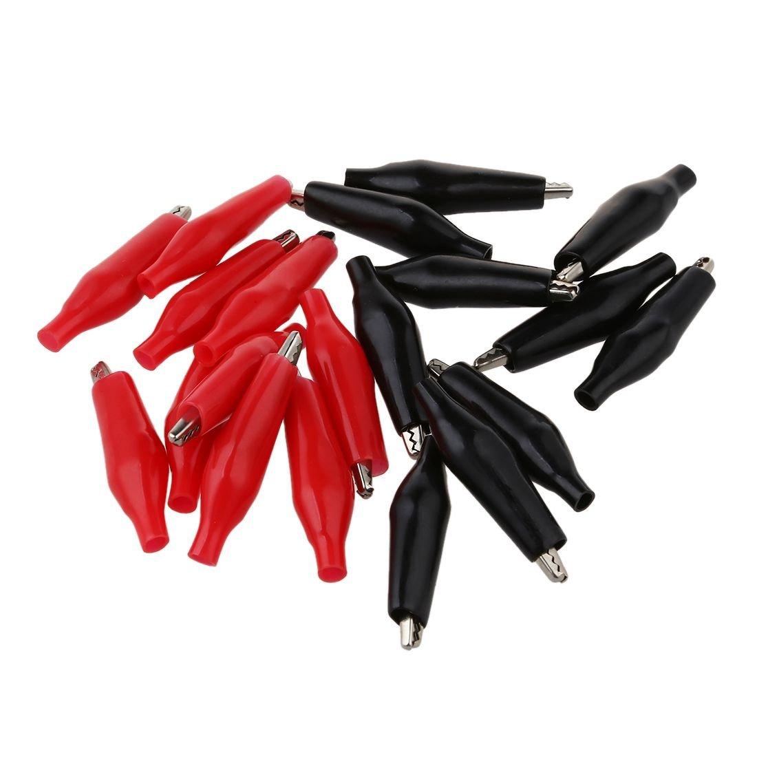 SODIAL(R) 20 pezzi nero Rosso Plastica morbida Coated Test Probe Alligator Test Clip 031555