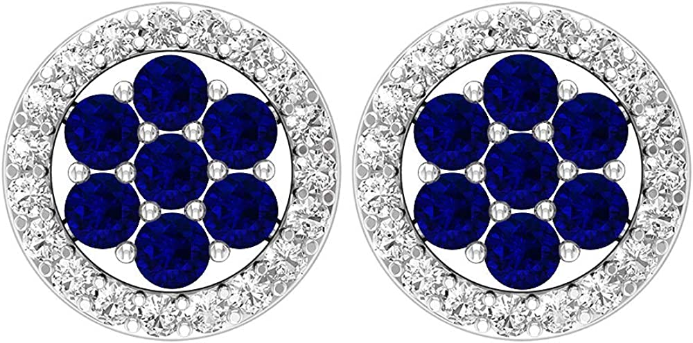 Pendientes circulares de 1/3 quilates, piedras preciosas redondas, diamantes HI-SI de 1,50 mm de zafiro difuso, pendientes de racimo, pendientes de flores doradas, joyas para ella, tornillo