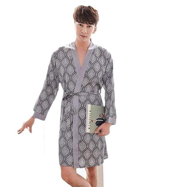 Albornoz Hombre Albornoz Bata Acogedor Loungewear Homewear Ligera Simple Estilo Bata Pijamas Verano (Color :