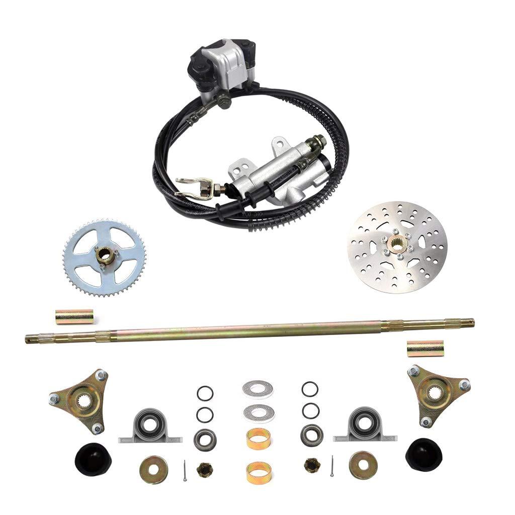 WPHMOTO Rear Axle Assembly Complete Wheel Hub Kit & Brake Assembly for Go Kart Quad Trike Drift Bikes by WPHMOTO