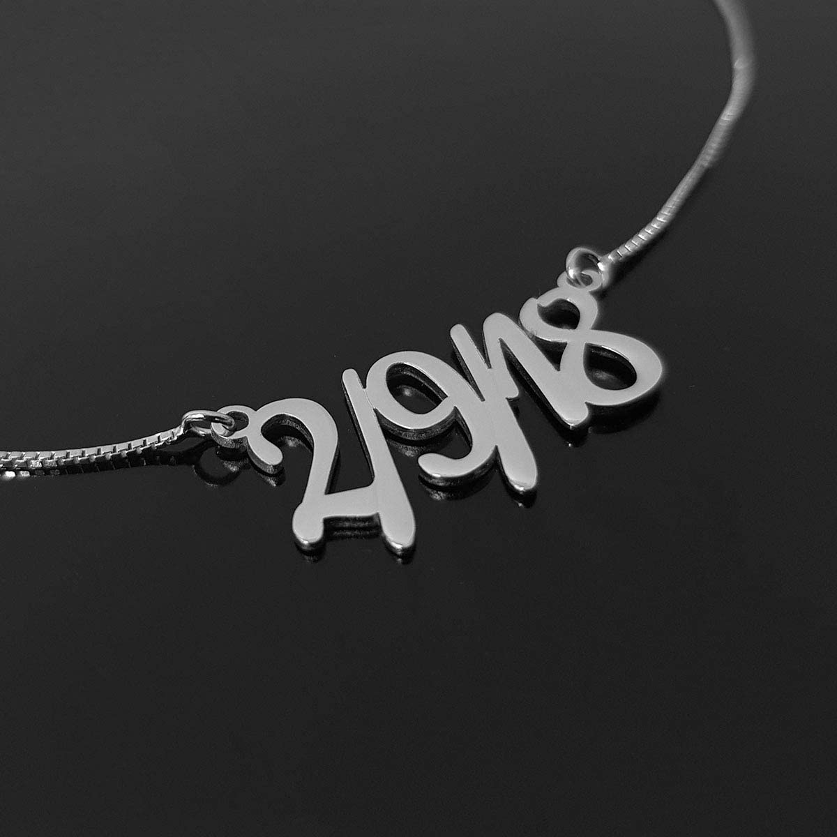 Personalized Years Pendant Beleco Jewelry Birth Year Necklace 15 Different Font Style Custom Your Birthday Jewelry