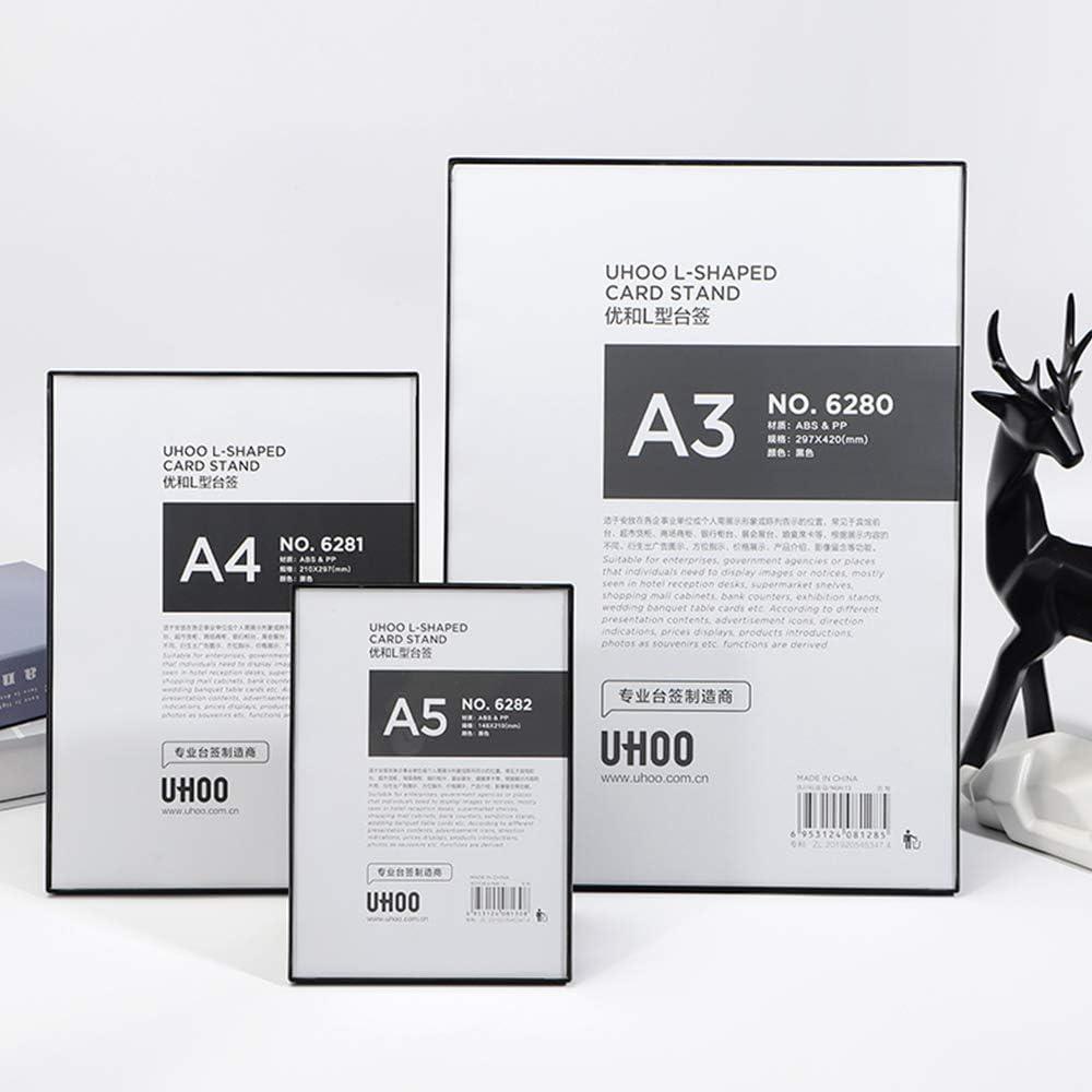 QQRH Porta-avvisi da Tavolo Porta-brochure da banco Doppio Ideale per promozioni,ristoranti,cornici per Foto,Documenti e Altro con Base a L per A4 A6 con Base a T l-Shaped Poster Menu Supporto