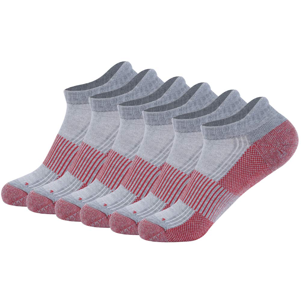 FOOTPLUS Men Women Boys Girls Ankle Arch Support Seamless Toe Cushioned Sole Moisture Wicking Copper Infused Golf Socks, 6 Pairs Grey& Red, Large by FOOTPLUS