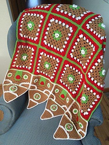 Amazoncom Christmas Crocheted Gingerbread House Afghan Throw