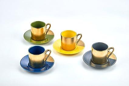 Amazon.com | Classic Coffee & Tea Solid Espresso Cups & Saucers (Set ...