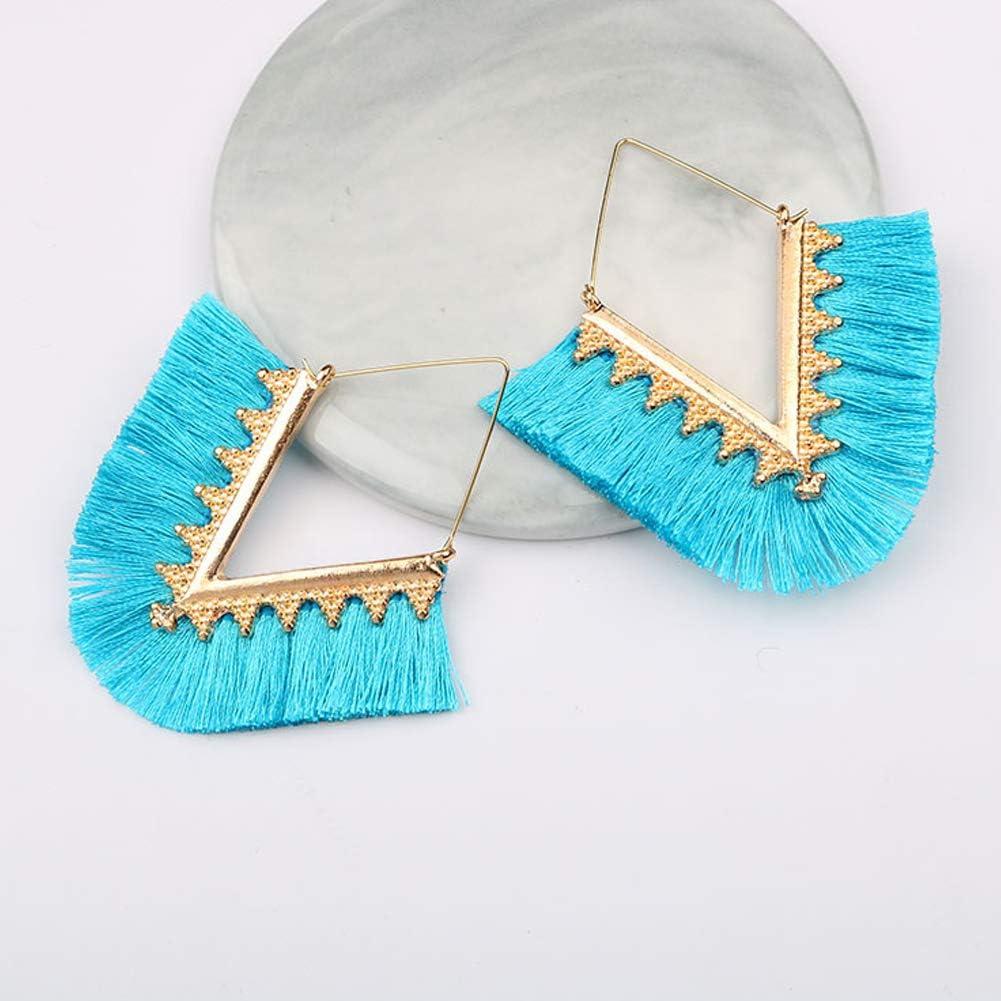 RONSHIN Women Fashion Alloy Geometric V Shape Tassel Earrings medium grey