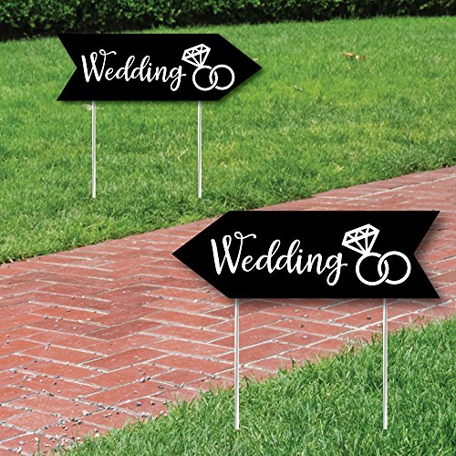 Big Dot of Happiness Black Wedding Signs - Wedding Sign Arrow - Double Sided Directional Yard Signs - Set of 2 Wedding (Party Directional Sign)