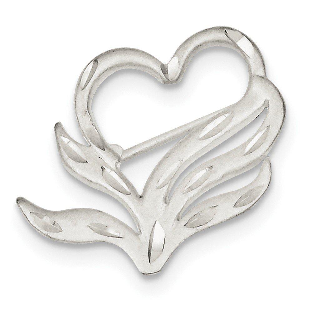 925 Sterling Silver Satin Finish Diamond-Cut Heart Love Pin