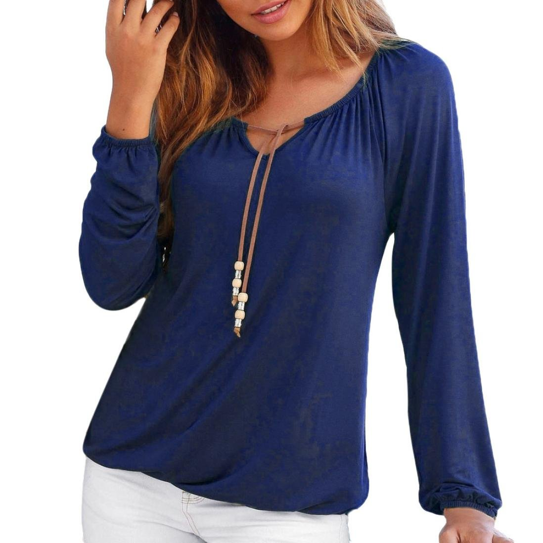 ♥ REYO [S-2XL] ♥ Womens Sweatshirt V-Neck Solid Bowknot Long Sleeve Pullover Casual T-Shirt Blouse Tops