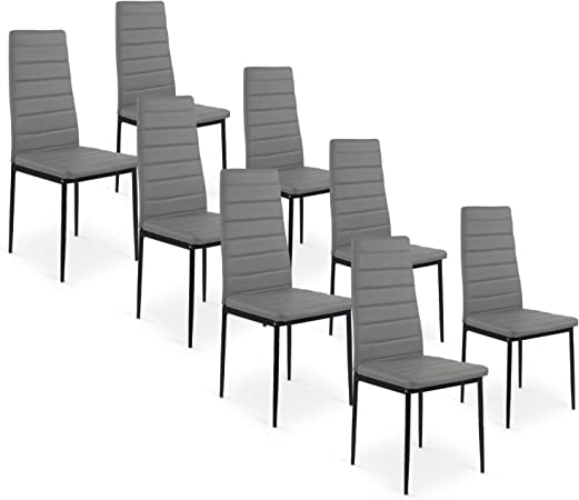 INTENSEDECO Lot de 8 chaises Strip Gris: : Cuisine
