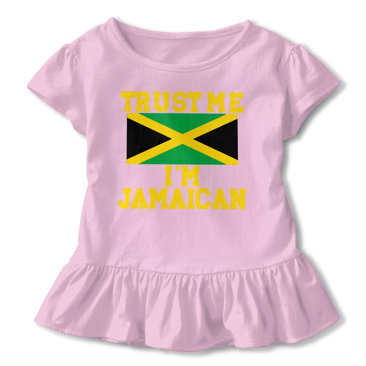 QUZtww Trust Me Im Jamaican Toddler Baby Girl Basic Printed Ruffle Short Sleeve Cotton T Shirts Tops Tee Clothes Pink