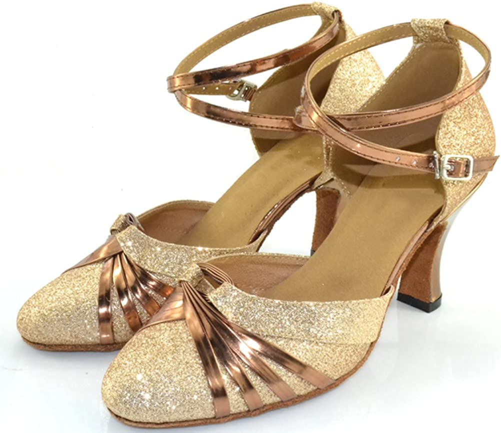 2IN Womens 3IN Closed-Toe Practice Latin Dance Shoes Tango Cha-cha Suedu Sole 1042 Gold US Size7.5