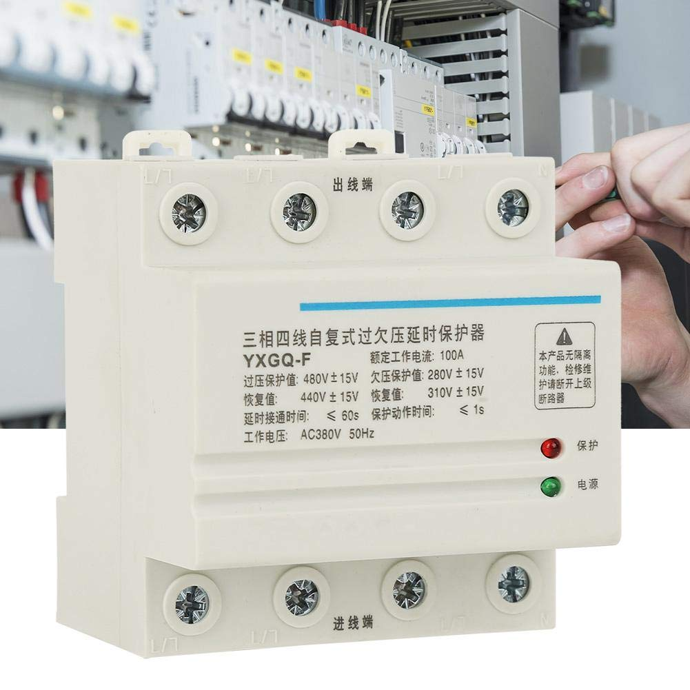 4P 100A 3-Phase 4-Wire Automatic Recovery Over /& Under Voltage Relay Protective Device for Industrial Home Improvment Voltage Protector Relay
