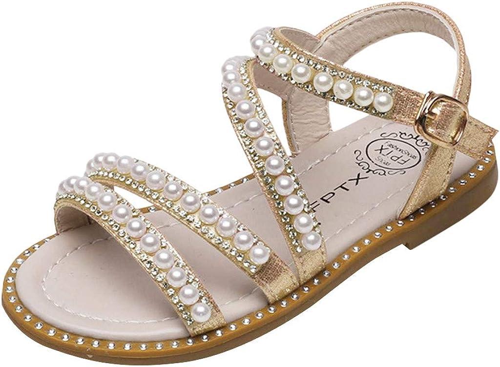 YIBLBOX Kids Toddler Girls Flat Sandals Summer Beach Princess Shoes