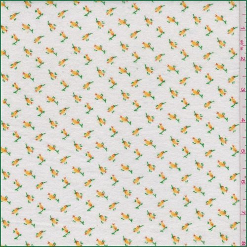 White/Yellow Ditsy Floral Flannel, Fabric by The Yard
