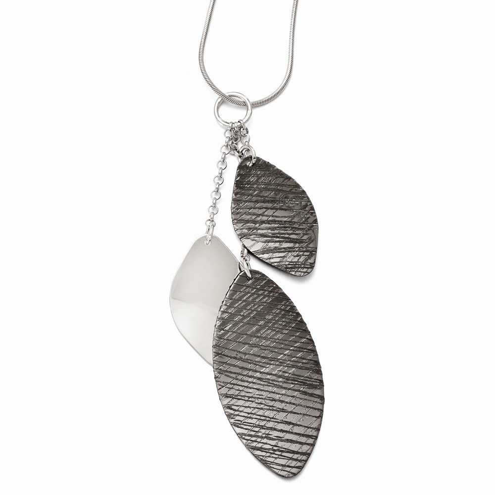 Jewelry Best Seller Leslies Sterling Silver Polished /& Textured Ruthenium-plated Pendant