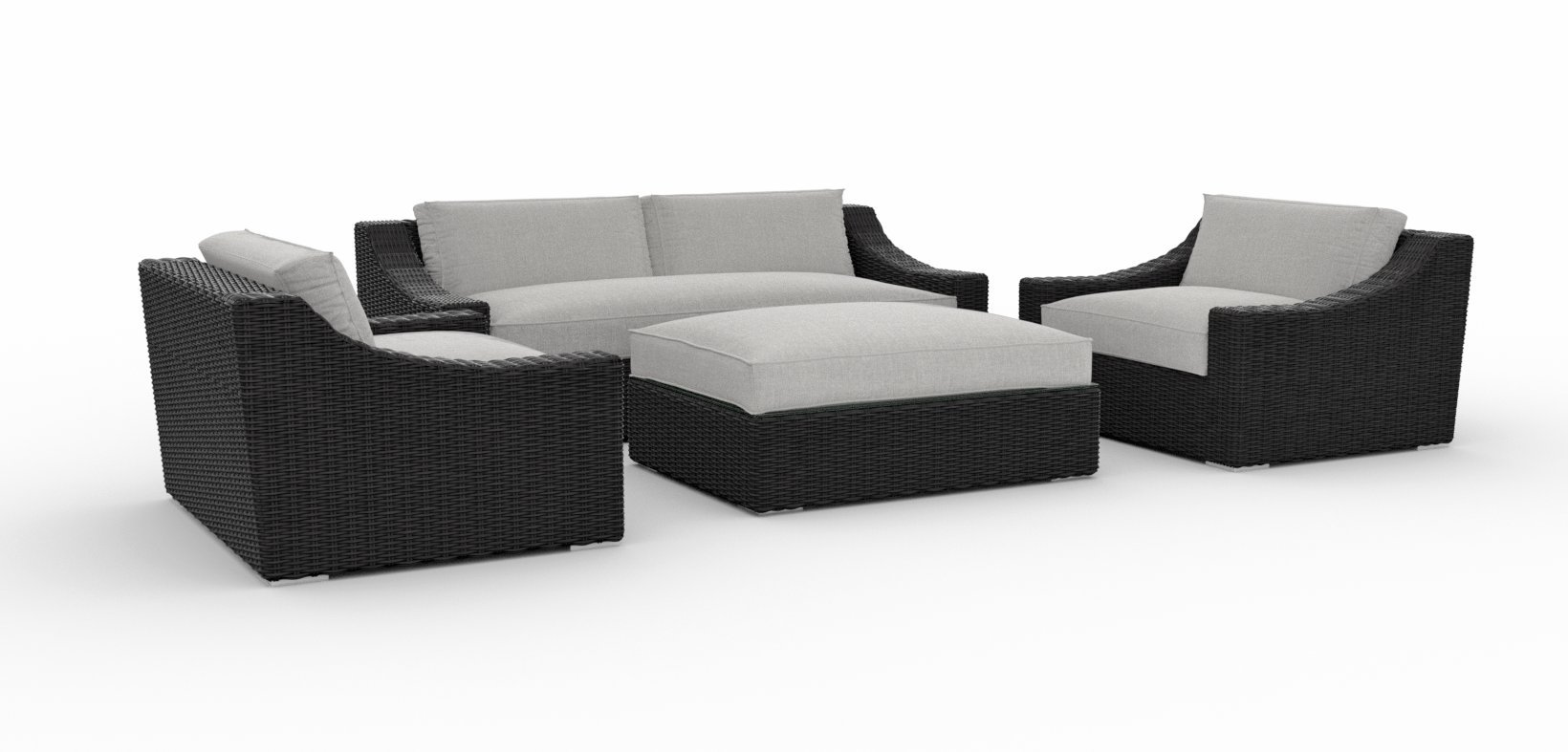 Toja Bretton Outdoor Patio Sofa Set (4 pcs) | Wicker Rattan Body with Sunbrella Cushions (Cast Silver) - BEAUTIFUL DESIGN & UNMATCHED COMFORT - Our Bretton line has a higher back and modern sloping arms. The durable PE wicker body has a modern design that looks great on any patio or in any outdoor area. High-density foam cushions provide unmatched comfort and ample seating space. ALL-WEATHER DURABLE WICKER BODY - This couch set's durable construction ensure that you'll enjoy your Toja furniture for years to come. The furniture's powder coated aluminum frame is covered in a tight double weave of durable PE wicker rattan. SUNBRELLA CUSHIONS - The patio furniture set's cushions are crafted from high-density foam and a soft Sunbrella fabric which resists fading and keeps your furniture looking new. Along with being stain and mildew resistant, the Sunbrella fabric is suitable for all types of weather and provides unmatched protection from rain, sun, and other elements. - patio-furniture, patio, conversation-sets - 61RHdXDCRQL -