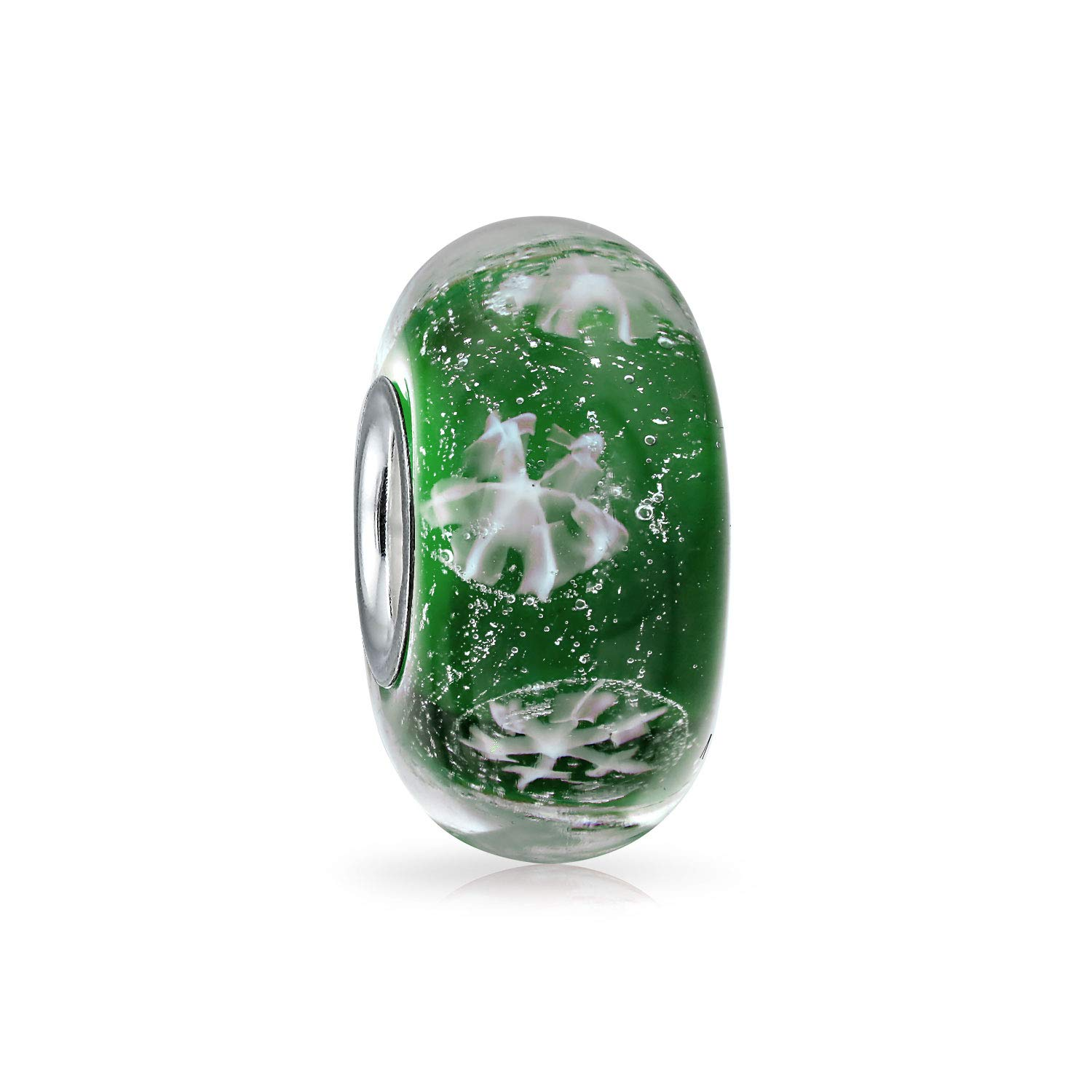 Foil Snowflake Christmas Green Simulated Emerald Murano Glass .925 Silver Lampwork Bead Charm Bling Jewelry PBX-HGS-GRNFLAKE