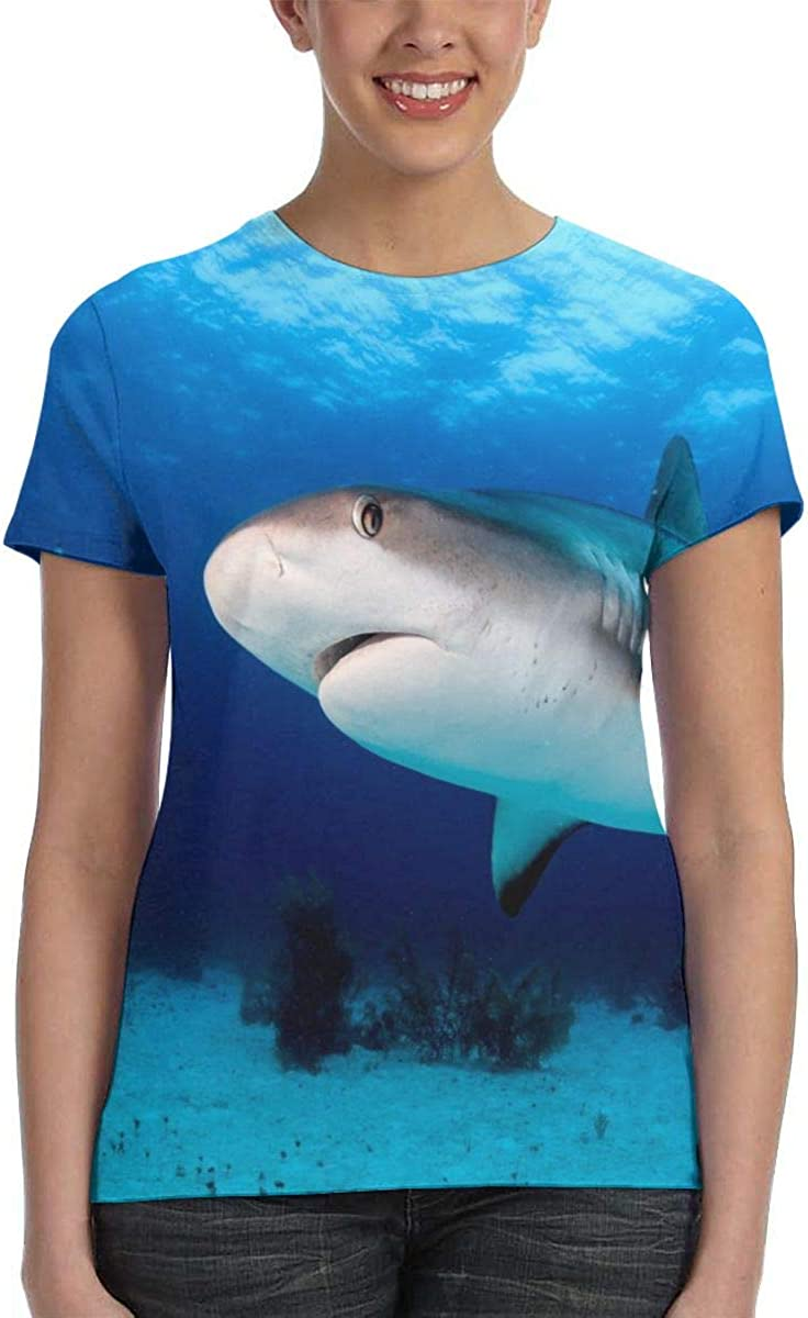 T Shirts for Women, Womens T Shirts Vintage Reef Shark Womens T Shirts Short Sleeve, Crewneck Casual