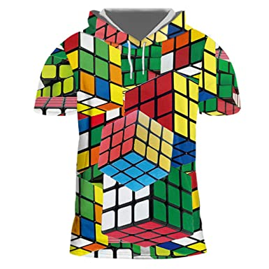 HensGalis Camisa con Capucha para Hombre Cube Impresión 3D de ...