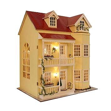 Casa Delle Bambole In Miniatura Misura Grande Con Mobili In Legno Fai Da Te