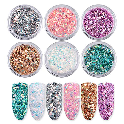 Siusio 6 Color 0.14oz /4g Glitter Nail Art Acrylic Nails Powder, Mixed Polish Chunky Sequins Iridescent Flakes Ultra-thin Paillette Sparkles Set Tips for Cosmetic Festival Arts Face Eyes Body -