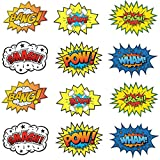 "Large Cardboard Superhero Word Cutouts (Size: 17"" X 13"") - 12 Pcs"