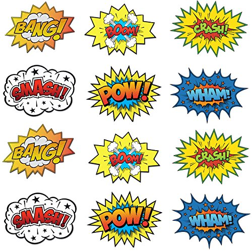 Large Cardboard Superhero Word Cutouts (Size: 17