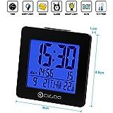 DIGOO DG-C2 Termometro e sveglia, Termometro digitale calendario e data grande schermo di retroilluminazione a LED blu, nero