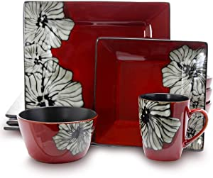 Elama EL-WINTERBLOOM Luxurious Red Winter Bloom 16 Piece Dinnerware Set with Complete Settign for 4, 16pc Flower Design