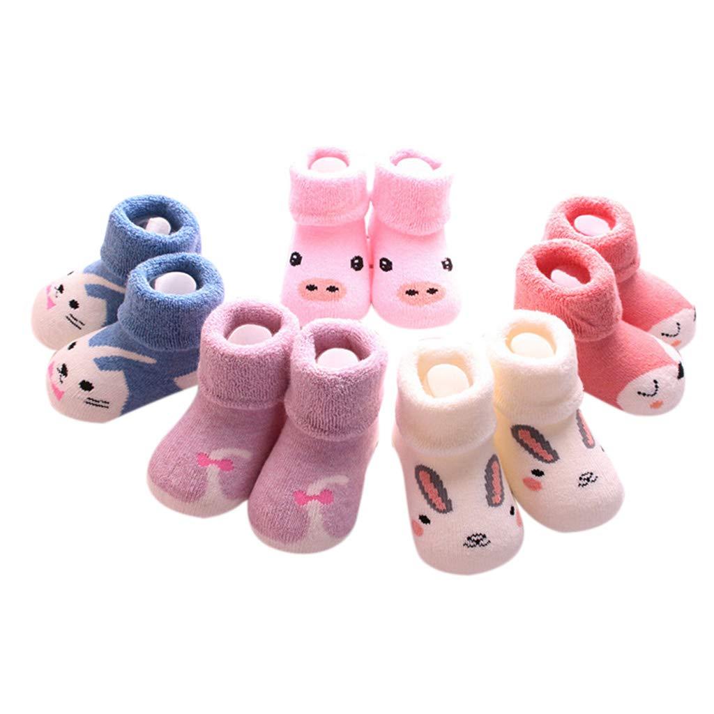 Lamdoo 5 Pairs Toddler Baby Boy Girl Winter Long Ankle Towel Socks Anti-Slip Cotton Cartoon Animals Striped Cuffed Elastic Boots Floor Autumn Winter A# Star S