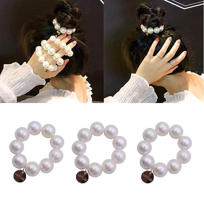 5pc// Faux Pearl Beaded Hairband Hair Tie Ponytail Holder Elastic Bun Ladies Kids