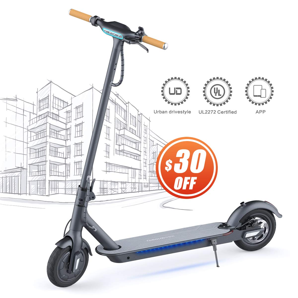 Amazon.com : TOMOLOO Electric Scooter for Adults, Self ...