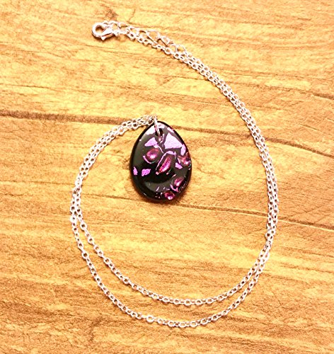 Black and Pink Dichroic Glass Pendant Necklace (Pink Pendant Dichroic Glass)