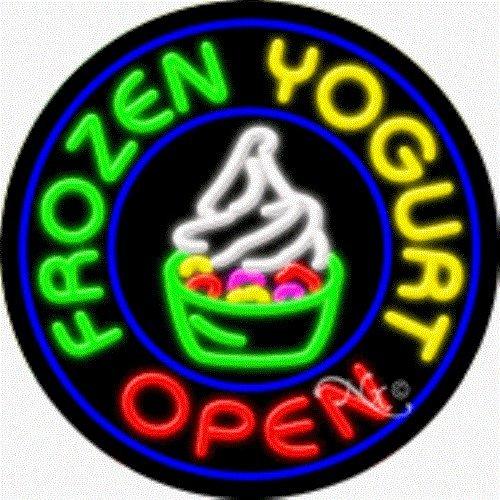 """26""""x26"""" Frozen Yougurt Open Round Neon Sign W/Border & Logo"""