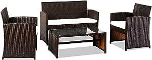 BATEER Patio Furniture Set of 4, Outdoor Rattan Chair Wicker Set, Outdoor Indoor Use Backyard Porch Garden Poolside Balcony Furniture Sets Clearance